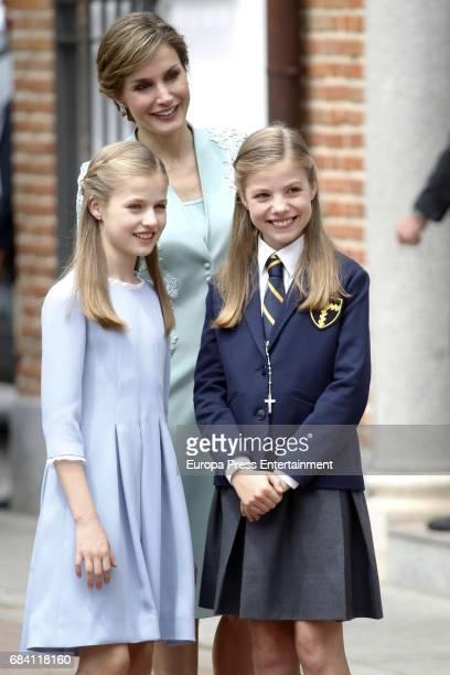 Queen Letizia of Spain Princess Leonor and Princess Sofia attend the First Communion of Princess Sofia at the Asuncion de Nuestra Senora on May 17...