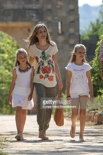 Queen Letizia of Spain Princess Leonor and Princess Sofia visit Tramuntana Mountains on August 11 2014 in Palma de Mallorca Spain