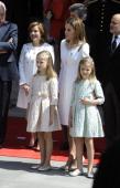 Queen Letizia of Spain Princess Leonor of Spain and Princess Sofia of Spain leave Spanish Parliament on June 19 2014 in Madrid Spain