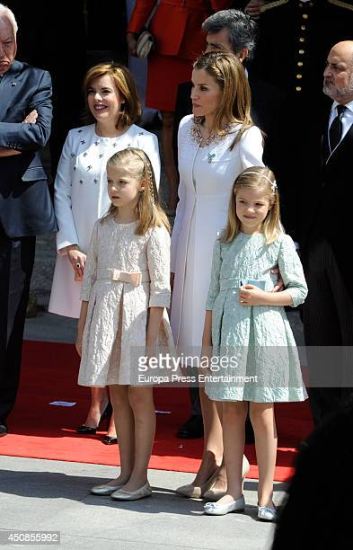 Queen Letizia of Spain Princess Leonor of Spain and Princess Sofia of Spain leave Spanish Parliament on June 19 2014 in Madrid Spain