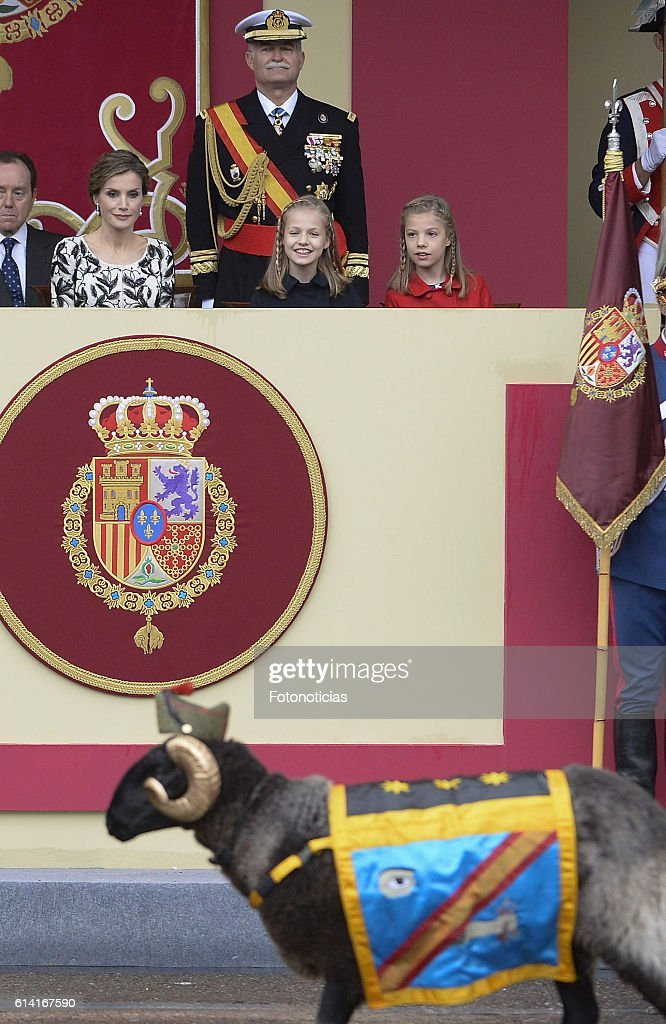 Queen Letizia of Spain, Princess Leonor of Spain and Princess Sofia of Spain attend the National Day military parade on October 12, 2016 in Madrid, Spain