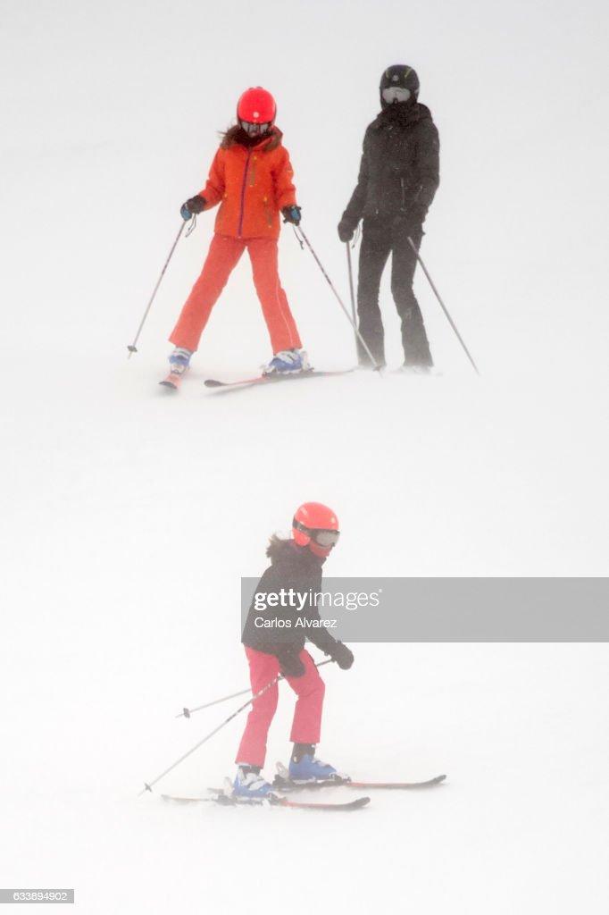 Queen Letizia of Spain (R), Princess Leonor of Spain (C) and Princess Sofia of Spain (L) enjoy a short private skiing break on February 5, 2017 in Jaca, Spain.