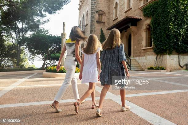 Queen Letizia of Spain Princess Leonor of Spain and Princess Sofia of Spain poses for the photographers during the summer photocall at the Marivent...