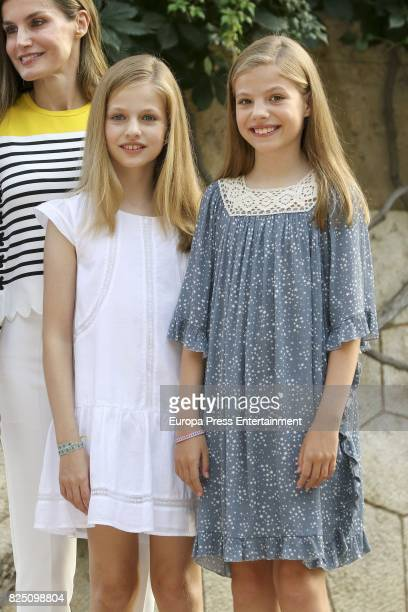 Queen Letizia of Spain Princess Leonor of Spain and Princess Sofia of Spain pose for the photographers during the summer photocall at the Marivent...
