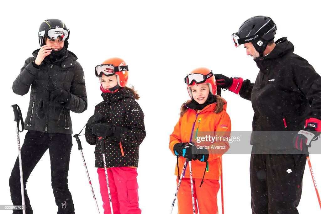 Queen Letizia of Spain, Princess Leonor of Spain, Princess Sofia of Spain and King Felipe VI of Spain enjoy a short private skiing break on February 5, 2017 in Jaca, Spain.