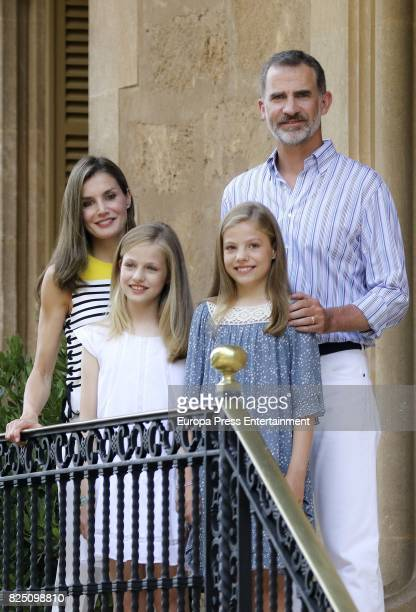 Queen Letizia of Spain Princess Leonor of Spain Princess Sofia of Spain and King Felipe VI of Spain pose for the photographers during the summer...