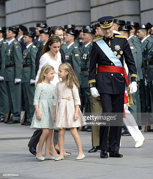 Queen Letizia of Spain Princess Leonor Princess Sofia Spain's Prime Minister Mariano Rajoy and new king Felipe VI arrive to parliament during the...