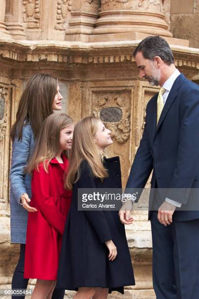 Queen Letizia of Spain Princess Sofia of Spain Princess Leonor of Spain and King Felipe VI of Spain attend the Easter Mass at the Cathedral of Palma...