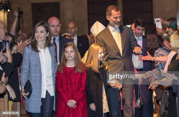 Queen Letizia of Spain Princess Sofia Princess Leonor and King Felipe of Spain attend the Easter Mass at the Cathedral of Palma de Mallorca on April...
