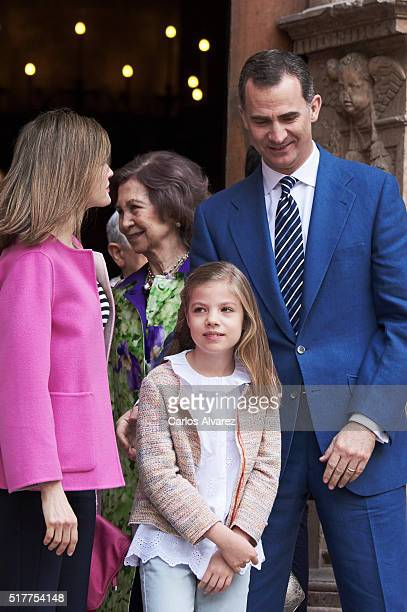 Queen Letizia of Spain Queen Sofia Princess Sofia of Spain and King Felipe VI of Spain attend the Easter Mass at the Cathedral of Palma de Mallorca...
