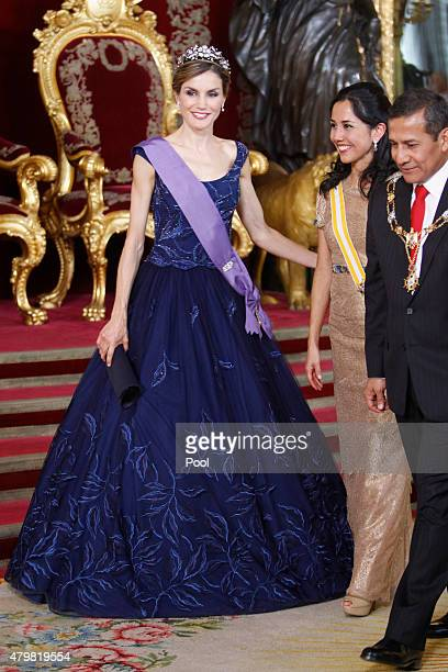 Queen Letizia of Spain receive Peruvian President Ollanta Humala Tasso and wife Nadine Heredia Alarcon at the Royal Palace on July 7 2015 in Madrid...