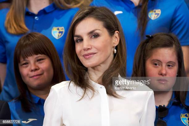 Queen Letizia of Spain receives Club Estudiantes SAD Foundation members at the Zarzuela Palace on March 28 2017 in Madrid Spain