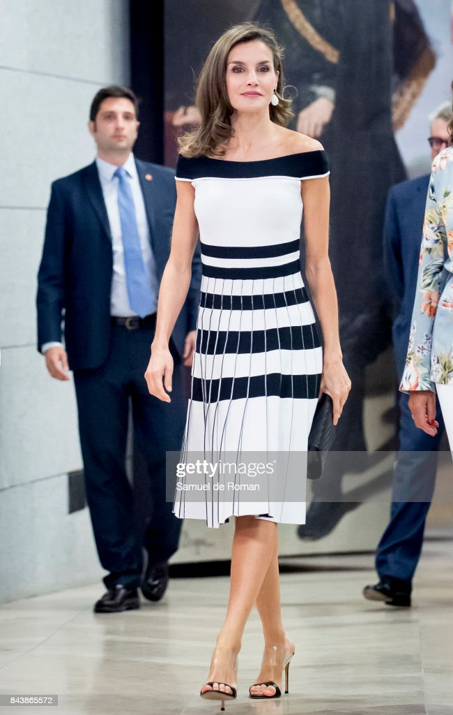 Queen Letizia of Spain Receives Members of Oncology Congress 'Esmo 2017' on September 7, 2017 in Madrid, Spain.