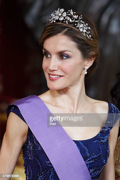 Queen Letizia of Spain receives Peruvian President Ollanta Humala Tasso at the Royal Palace on July 7 2015 in Madrid Spain