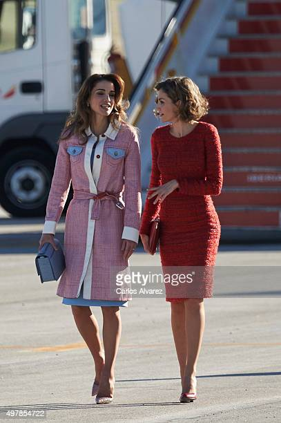 Queen Letizia of Spain receives Queen Abdullah of Jordan at the Barajas Airport on November 19 2015 in Madrid Spain