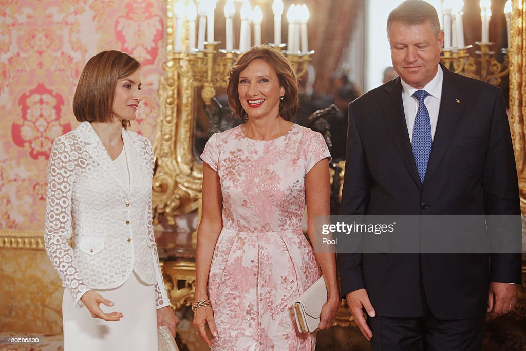 Queen Letizia of Spain (L) receives Romanian President Klaus Werner Iohannis (R) and wife Carmen Iohannis (C) at the Royal Palace on July 13, 2015 in Madrid, Spain.