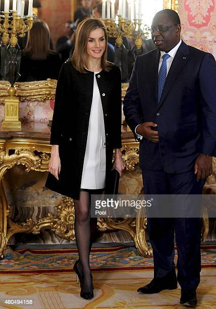 Queen Letizia of Spain receives Senegal's President Macky Sall at the Royal Palace on December 15 2014 in Madrid Spain