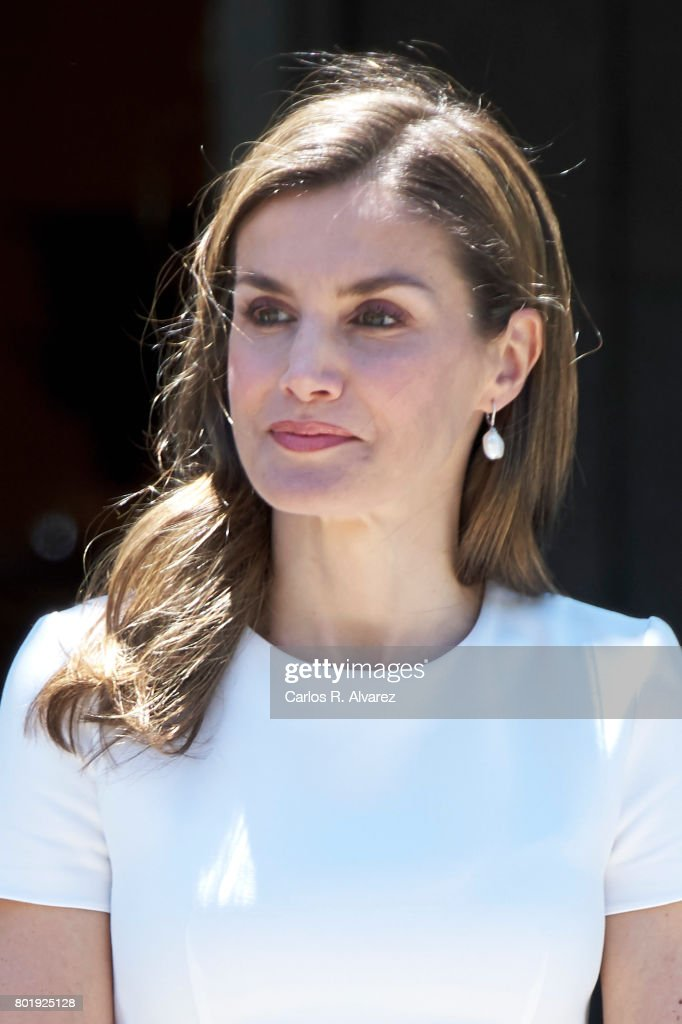 Queen Letizia of Spain receives Slovenian President Borut Pahor at the Zarzuela Palace on June 27, 2017 in Madrid, Spain.