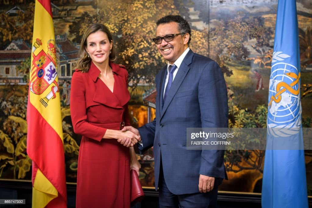 Queen Letizia of Spain Attends A Work Meeting at the World Heath Organization's Headquarters In Geneva