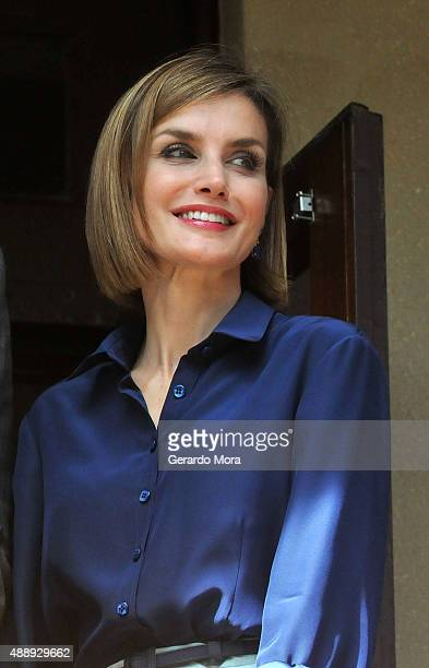 Queen Letizia of Spain smiles during the 450th Saint Agustine anniversary at the Government House on September 18 2015 in St Augustine Florida