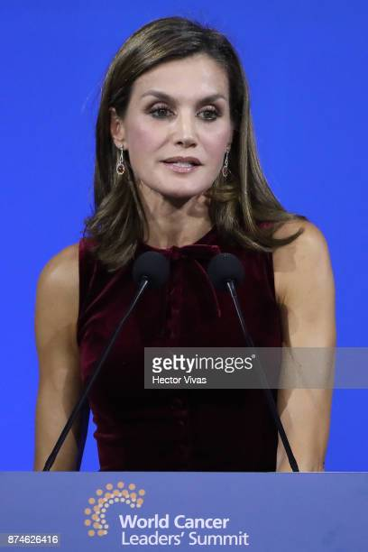 Queen Letizia of Spain speaks during the World Cancer Leaders' Summit Closing Ceremony at Palacio de Mineria as part of an official visit to Mexico...