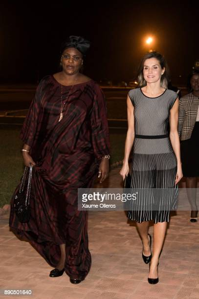 Queen Letizia of Spain speaks with first lady of Senegal Marime Faye Sall as she arrives in Senegal on December 11 2017 in Dakar Senegal Queen...