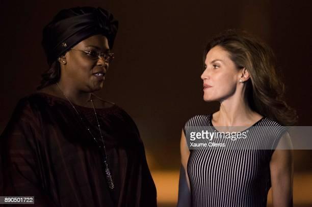 Queen Letizia of Spain speaks with first lady of Senegal Marime Faye Sall as she arrives in Senegal on December 11 2017 in Dakar Senegal Queen...