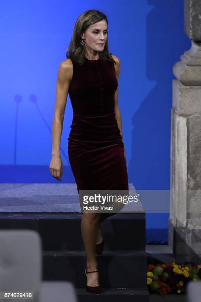 Queen Letizia of Spain talks during the World Cancer Leaders'u2019 Summit Closing Ceremony at Palacio de Minería as part of an official visit to...