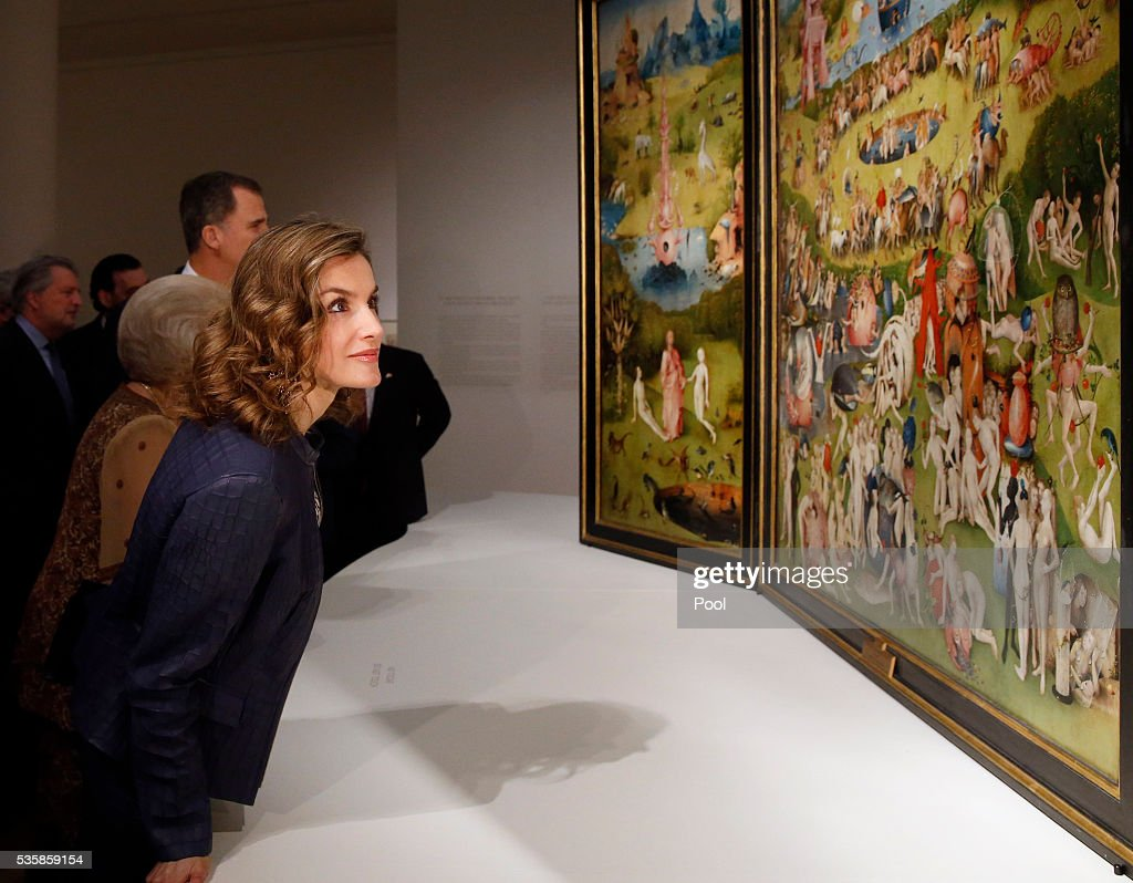 Queen Letizia of Spain views 'The Garden of Earthly Delights' by Hieronymus Boschduring a visit to the 'El Bosco' 5th Centenary Anniversary Exhibition at El Prado Museum on May 30, 2016 in Madrid, Spain.
