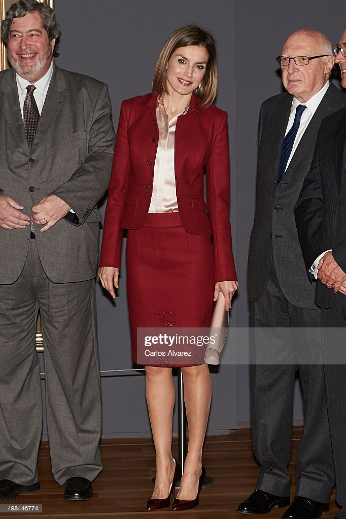 Queen Letizia of Spain (C) visit the 'Ingres' exhibition at the El Prado Museum on November 23, 2015 in Madrid, Spain.