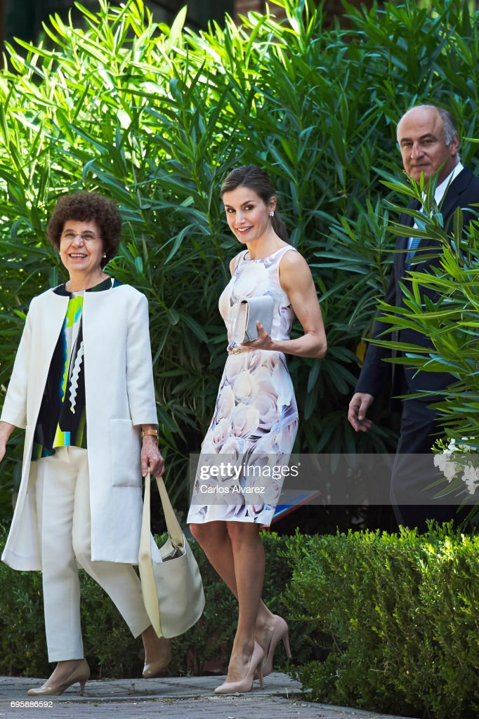 Queen Letizia of Spain (C) visits a traditional Students Residence (Residencia de Estudiantes) on on June 14, 2017 in Madrid, Spain.