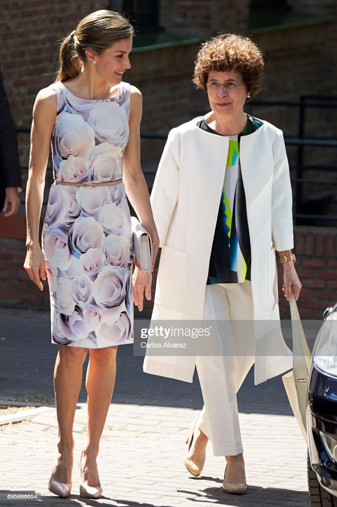 Queen Letizia of Spain (L) visits a traditional Students Residence (Residencia de Estudiantes) on on June 14, 2017 in Madrid, Spain.