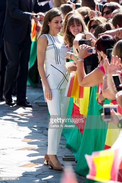 Queen Letizia of Spain visits Santo Toribio de Liebana Monastery in ocassion of the Lebaniego Jubilee Year on July 19 2017 in Camaleno Spain