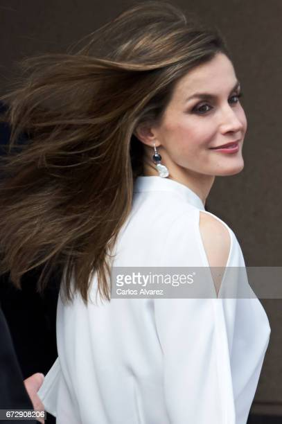 Queen Letizia of Spain visits the University Institute of Tropical Diseases and Public Health of the Canary Island at the La Laguna University on...