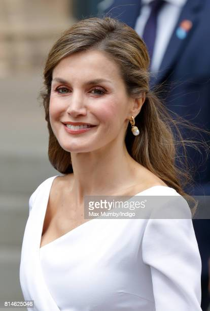 Queen Letizia of Spain visits the Weston Library at Oxford University on the final day of the Spanish State Visit to the United Kingdom on July 14...