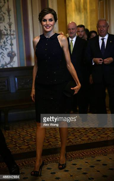 Queen Letizia of Spain who is on a visit to Washington with King Felipe VI arrives for a meeting with the US Senate Foreign Relations Committee...