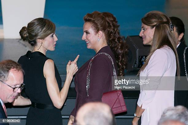 Queen Letizia of Spain Wife of King Mohammed VI of Morocco Princess Lalla Salma and Princess Dina Mired of Jordan attend the World Cancer Congress at...