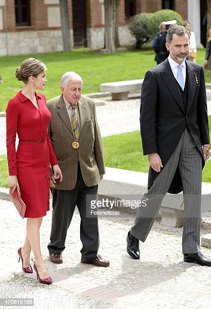 Queen Letizia of Spain writer Juan Goytisolo and King Felipe VI of Spain attend the Cervantes Award Ceremony at Alcala de Henares University on April...