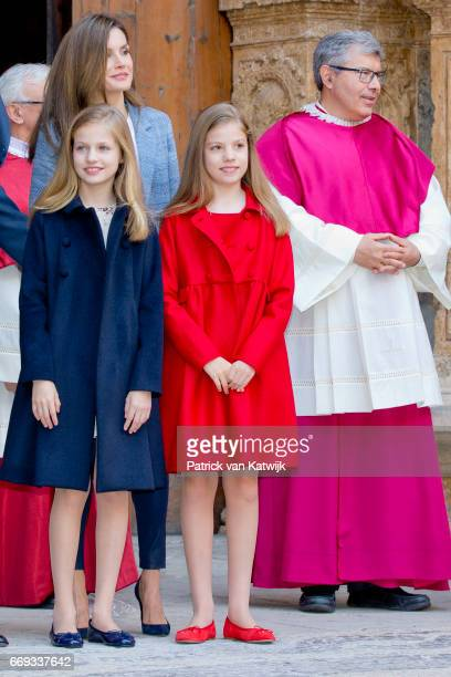 Queen Letizia Princess Leonor and Princess Sofia of Spain attend the easter mass on April 16 2017 in Palma de Mallorca Spain