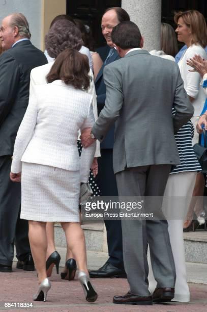 Queen Letizia's mother Paloma Rocasolano and father Jesus Ortiz attend the First Communion of Princess Sofia at the Asuncion de Nuestra Senora on May...