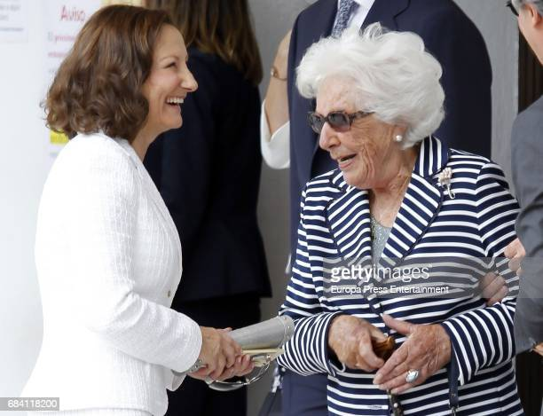 Queen Letizia's mother Paloma Rocasolano and Queen Letizia's grandmother Menchu Alvarez del Valle attend the First Communion of Princess Sofia at the...