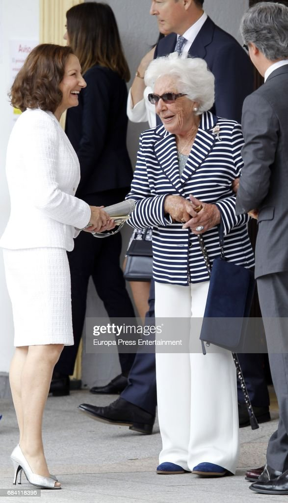 Queen Letizia's mother Paloma Rocasolano and Queen Letizia's grandmother Menchu Alvarez del Valle attend the First Communion of Princess Sofia at the Asuncion de Nuestra Senora on May 17, 2017 in Madrid, Spain.