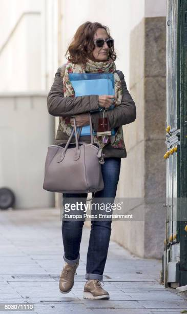 Queen Letizia's mother Paloma Rocasolano is seen leaving University on April 27 2017 in Madrid Spain