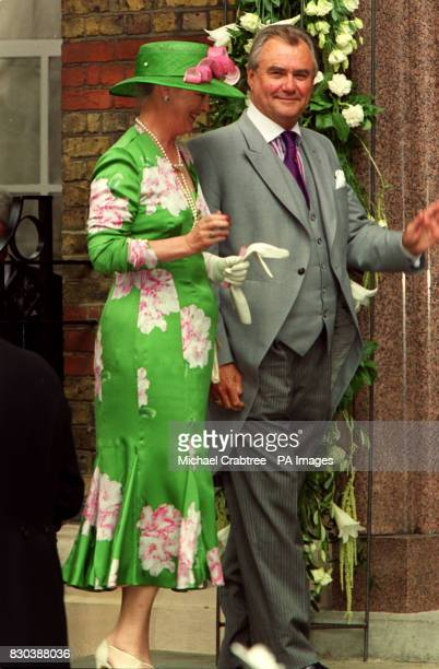 Queen Margarethe and Prince Henri of Denmark arrive at the Greek Orthodox Cathedral of St Sophia in Bayswater west London for the wedding of Princess...