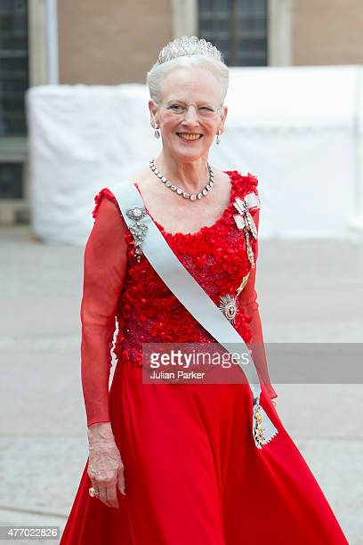 Queen Margarethe of Denmark arrives at The Royal Chapel at The Royal Palace in Stockholm for The Wedding of Prince Carl Philip of Sweden and Sofia...