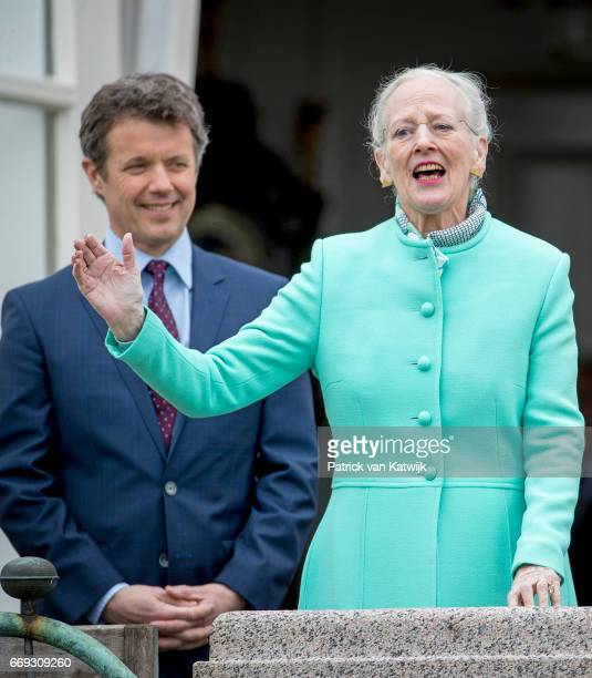 Queen Margrethe and Crown Prince Frederik of Denmark attend the 77th birthday celebrations of Danish Queen Margrethe at Marselisborg Palace on April...
