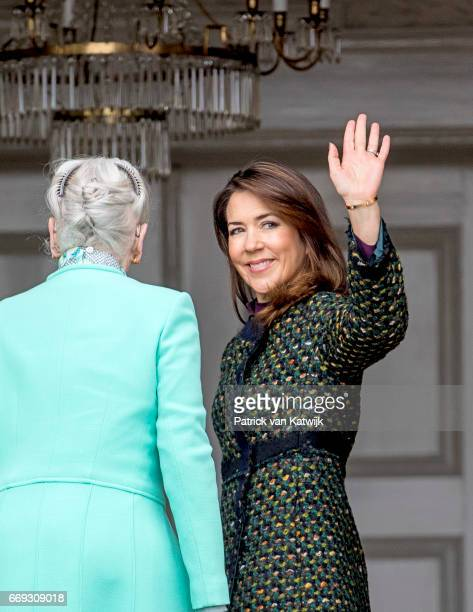 Queen Margrethe and Crown Princess Mary of Denmark attend the 77th birthday celebrations of Danish Queen Margrethe at Marselisborg Palace on April 16...
