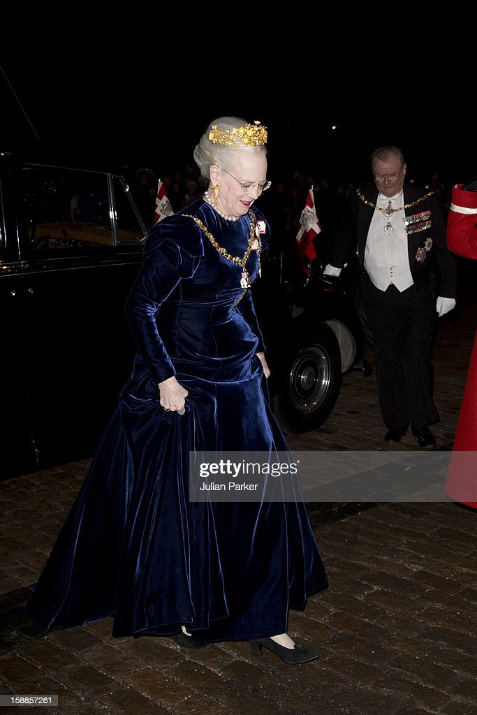 Queen Margrethe, and Prince Henrik of Denmark arrive at a New Year's Banquet hosted by Queen Margrethe of Denmark at Christian VII's Palace, Amalienborg Palace, on January 1, 2013 in Copenhagen, Denmark.