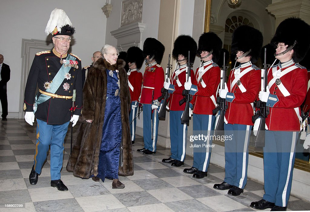 Queen Margrethe, and Prince Henrik of Denmark attend a New Year's Levee held by Queen Margrethe of Denmark, for Diplomats,at Christiansborg Palace on January 3, 2013 in Copenhagen, Denmark.