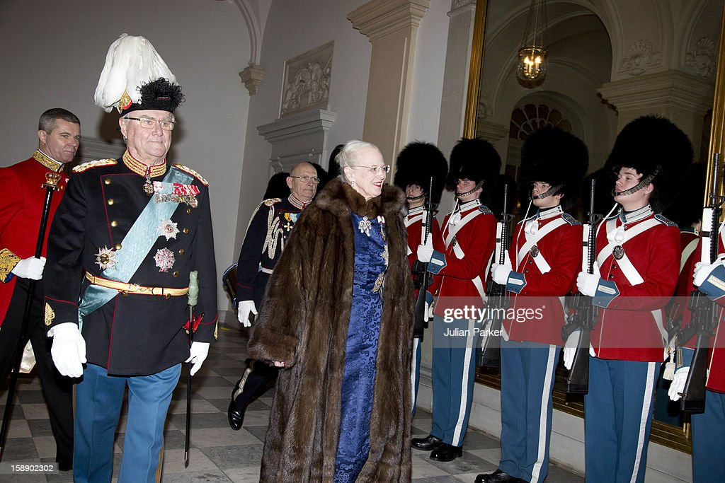 Queen Margrethe, and Prince Henrik of Denmark attend a New Year's Levee held by Queen Margrethe of Denmark, for Diplomats,at Christiansborg Palace on January 3, 2013 in Copenhagen, Denmark. (Photo by Julian Parker/UK Press via Getty Images